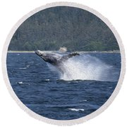 Breaching Whale Paint Round Beach Towel