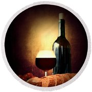 Bread And Wine Round Beach Towel by Lourry Legarde