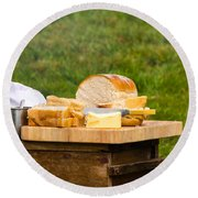 Bread With Butter On Cutting Board Round Beach Towel