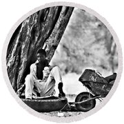 Break From The African Sun Black And White Round Beach Towel