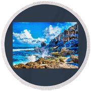 Breakers On The Rocks At Kenridgeview - On - Sea L A S Round Beach Towel