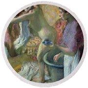 Breakfast After A Bath Round Beach Towel by Edgar Degas