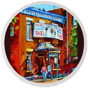 Breakfast At The Bagel Cafe Round Beach Towel