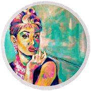 Audrey Hepburn Painting, Breakfast At Tiffany's Round Beach Towel