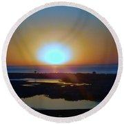 Breaking Dawn In The Big Ac Round Beach Towel