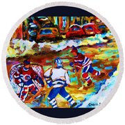 Breaking  The Ice Round Beach Towel