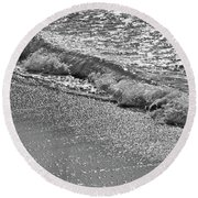 Breaking Wave In Black And White Round Beach Towel