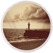 Breakwater At Sete Round Beach Towel