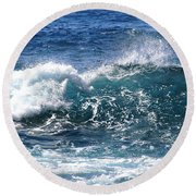 Breathe Like Water Kashmir Blue Sapphire Round Beach Towel