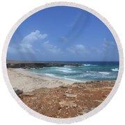 Breathtaking View Of Daimari Beach In Aruba Round Beach Towel