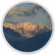 Breathtaking View Of The Italian Alps With A Cloudy Sky  Round Beach Towel