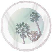 Breezy Palm Trees- Art By Linda Woods Round Beach Towel