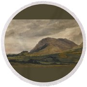 Breidden Hill In The Welsh Borders Round Beach Towel