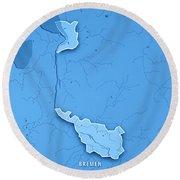 Bremen Bundesland Germany 3d Render Topographic Map Blue Border Round Beach Towel