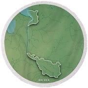 Bremen Bundesland Germany 3d Render Topographic Map Border Round Beach Towel
