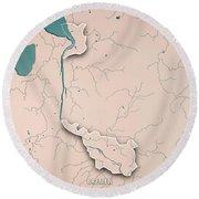 Bremen Bundesland Germany 3d Render Topographic Map Neutral Bord Round Beach Towel