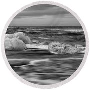 Brethamerkursandur Iceberg Beach Iceland 2155 Round Beach Towel