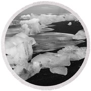 Brethamerkursandur Iceberg Beach Iceland 2319 Round Beach Towel