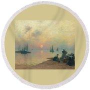 Breton Coastal Landscape At Sunset Round Beach Towel