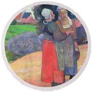 Breton Peasants Round Beach Towel by Paul Gauguin