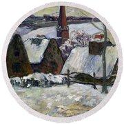 Breton Village Under Snow Round Beach Towel by Paul Gauguin