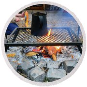 Brewing Outdoors Round Beach Towel