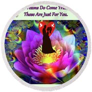 Brian Exton Sacred Flower Of Love  Bigstock 164301632  2991949  12779828 Round Beach Towel