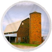 Brick Barn And Silo Round Beach Towel