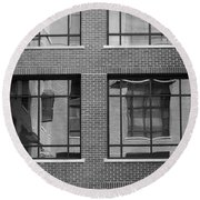 Brick Building Black And White Round Beach Towel