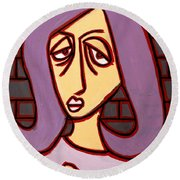 Brick Lady Round Beach Towel