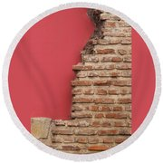 Bricks, Stones, Mortar And Walls - 3 Round Beach Towel