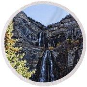 Bridal Veil Falls Provo Utah Round Beach Towel