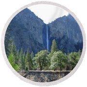Bridal Veil Yosemite Round Beach Towel