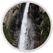 Bridalveil Fall Yosemite Valley Round Beach Towel