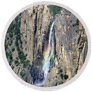 Bridalveil Falls From Above - Yosemite Round Beach Towel