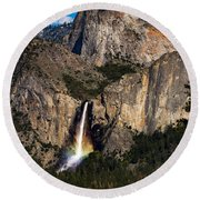 Bridalveil Falls Rainbow #3 Round Beach Towel
