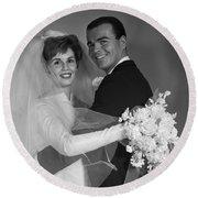 Bride And Groom, C.1960s Round Beach Towel