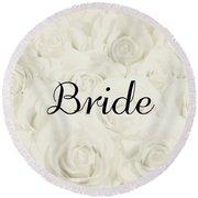Bride Floral Design- Cream White Round Beach Towel