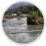 Bridge Across Mountain River Round Beach Towel