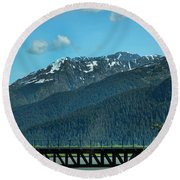 Bridge Alaska Rail  Round Beach Towel
