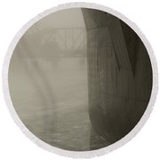 Bridge And Barge Round Beach Towel