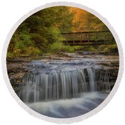 Bridge And Falls Round Beach Towel