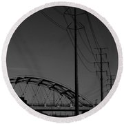 Bridge And Power Poles At Dusk Round Beach Towel