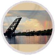 Bridge And Rainbow Over Seekonk River Round Beach Towel