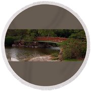 Bridge At Morikami Round Beach Towel