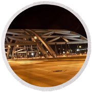 Bridge At Night Round Beach Towel