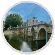 Bridge At Quissac - P4a16005 Round Beach Towel