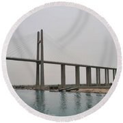 Bridge At Suez Round Beach Towel