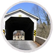 Bridge At The Mill. Round Beach Towel