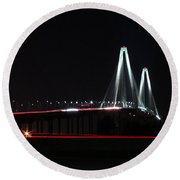 Bridge Blur - Digital Art Round Beach Towel